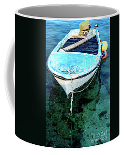 Blue And White Fishing Boat On The Adriatic - Rovinj, Croatia Coffee Mug