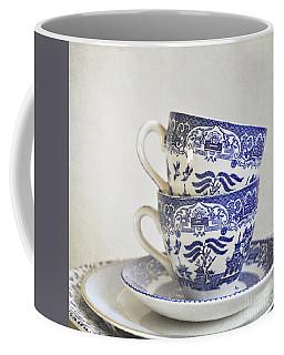 Blue And White Stacked China. Coffee Mug