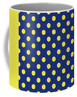 Coffee Mug featuring the mixed media Blue And Yellow Polka Dots- Art By Linda Woods by Linda Woods