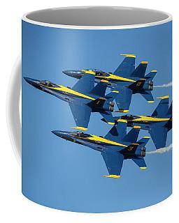Coffee Mug featuring the photograph Blue Angels Diamond Formation by Adam Romanowicz