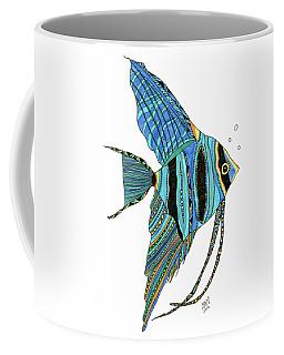 Coffee Mug featuring the drawing Blue Anglefish by Barbara McConoughey