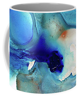 Coffee Mug featuring the painting Blue Art - The Meaning Of Life - Sharon Cummings by Sharon Cummings