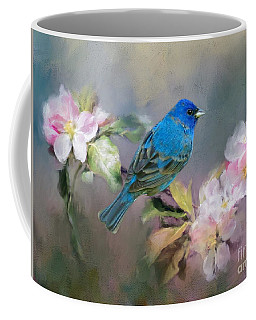 Blue Beauty In The Flowers Coffee Mug