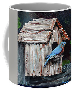 Coffee Mug featuring the painting Blue Bird On Lake Odom by Jan Dappen