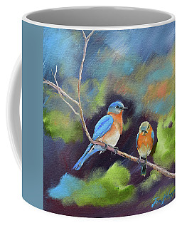 Coffee Mug featuring the painting Blue Birds - Soul Mates by Jan Dappen