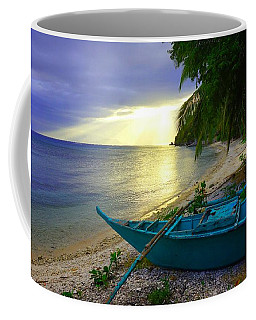 Blue Boat And Sunset On Beach Coffee Mug