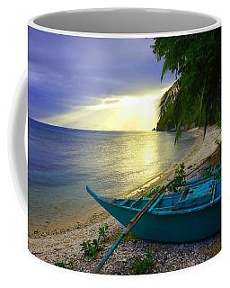 Blue Boat And Sunset On Beach Coffee Mug