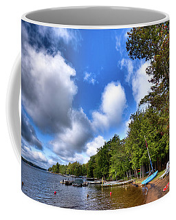 Coffee Mug featuring the photograph Blue Boat On The Shore by David Patterson
