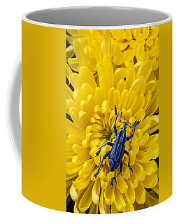 Blue Bug On Yellow Mum Coffee Mug