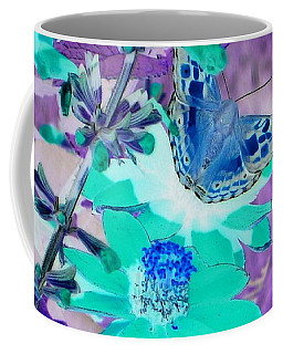 Blue Butterfly And Teal Flowers Coffee Mug