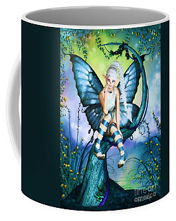 Blue Butterfly Fairy In A Tree Coffee Mug