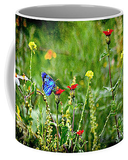 Coffee Mug featuring the photograph Blue Butterfly In Meadow by John  Kolenberg