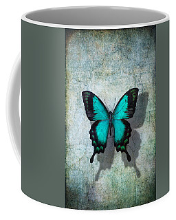 Blue Butterfly Resting Coffee Mug