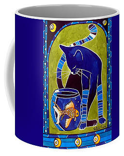 Coffee Mug featuring the painting Blue Cat With Goldfish by Dora Hathazi Mendes