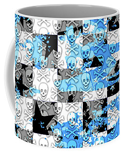 Blue Checker Skull Splatter Coffee Mug