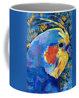 Coffee Mug featuring the painting Blue Cockatiel by Donald J Ryker III