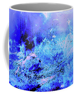 Blue Digital Artwork With Dots And Stripes And Sandstone Finish Coffee Mug