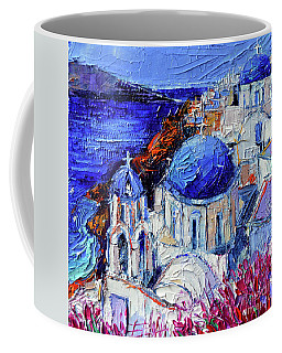 Blue Domed Churches In Oia Santorini - Mini Cityscape 08 - Palette Knife Oil Painting Coffee Mug
