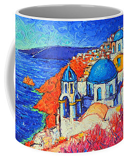 Blue Domes In Oia Santorini Greece Original Impasto Palette Knife Oil Painting By Ana Maria Edulescu Coffee Mug