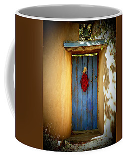 Coffee Mug featuring the photograph Blue Door With Chiles by Joseph Frank Baraba