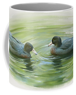 Coffee Mug featuring the painting Blue Ducks  by Ivana Westin