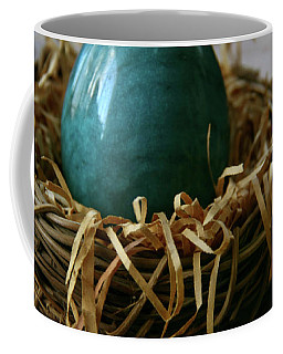 Blue Egg Nesting Coffee Mug by Yvonne Wright