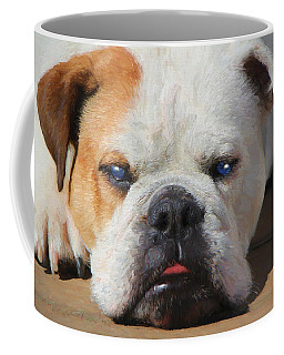 Coffee Mug featuring the painting Blue-eyed English Bulldog - Painting by Ericamaxine Price