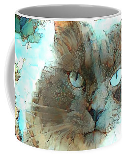 Blue Eyed Persian Cat Watercolor Coffee Mug