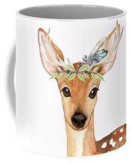 Blue Feather Woodland Boho Deer Coffee Mug