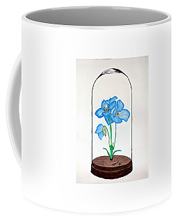 Blue Flower Under Glass Cloche Coffee Mug by Edwin Alverio