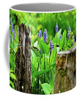 Blue Flowers And Artistic Logs Coffee Mug