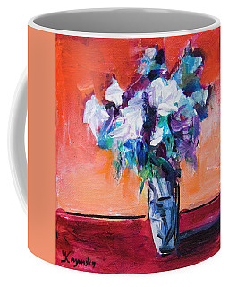 Blue Flowers In A Vase Coffee Mug by Yulia Kazansky