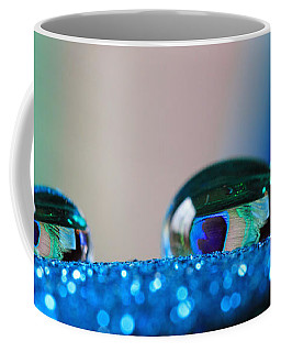 Blue Glitter And Peacock Feathers Coffee Mug