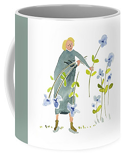 Coffee Mug featuring the painting Blue Harvest by Leanne WILKES