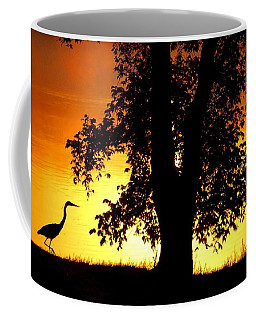 Coffee Mug featuring the photograph Blue Heron At Sunrise by Sumoflam Photography