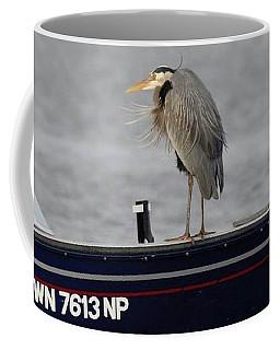 Blue Heron Boat Ride Coffee Mug