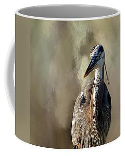 Blue Heron Coffee Mug by Cyndy Doty