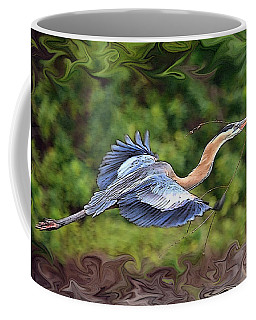Coffee Mug featuring the photograph Blue Heron Flight by Shari Jardina