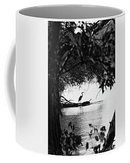 Blue Heron In Black And White. Coffee Mug