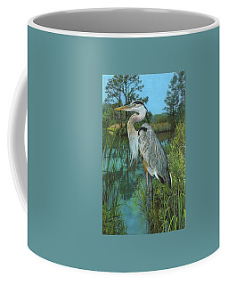 Coffee Mug featuring the painting Blue Heron by John Dyess