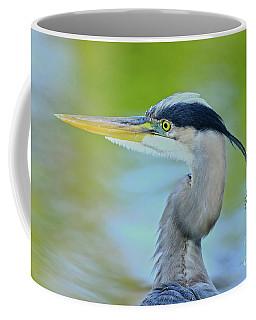 Coffee Mug featuring the photograph Blue Heron Portrait 2017 by Deborah Benoit
