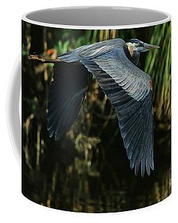 Coffee Mug featuring the photograph Blue Heron Series The Pond by Deborah Benoit