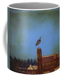 Blue Heron Sky Painted Coffee Mug