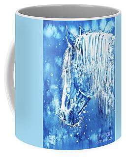 Coffee Mug featuring the painting Blue Horse by Zaira Dzhaubaeva