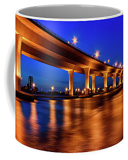 Blue Hour At Roosevelt Bridge In Stuart Florida  Coffee Mug by Justin Kelefas