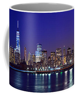 Blue Hour Panorama New York World Trade Center With Freedom Tower From Liberty State Park Coffee Mug