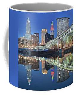 Coffee Mug featuring the photograph Blue Hour Square by Frozen in Time Fine Art Photography
