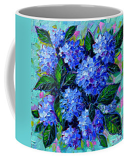 Blue Hydrangeas - Abstract Floral Composition Coffee Mug