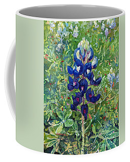 Coffee Mug featuring the painting Blue In Bloom 2 by Hailey E Herrera