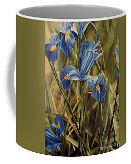 Coffee Mug featuring the painting Blue Iris by Laurie Rohner